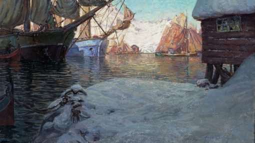Fishing Boats in the Harbor   Anna Boberg   Oil Painting