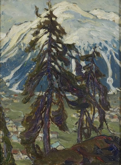 Fir Trees in front of the Mountains. Study from North Norway | Anna Boberg | Oil Painting