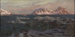 Fishing Harbour with Sunlit Mountains. Study from North Norway | Anna Boberg | Oil Painting
