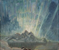 Northern Lights. Study from North Norway   Anna Boberg   Oil Painting