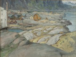 The Village at the Foot of the Mountain. Study from Lofoten | Anna Boberg | Oil Painting