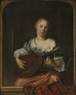 A Young Lady Playing the Lute | Eglon Hendrick van der Neer | Oil Painting