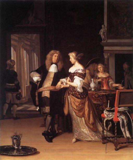 Elegant Couple in an Interior   Eglon Hendrick van der Neer   Oil Painting