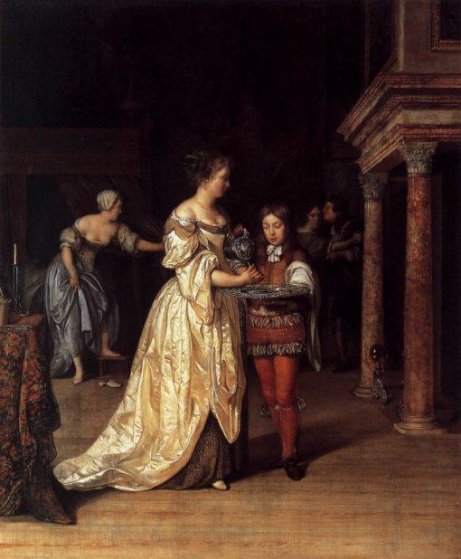 Interior with a Woman Washing her Hands   Eglon Hendrick van der Neer   Oil Painting