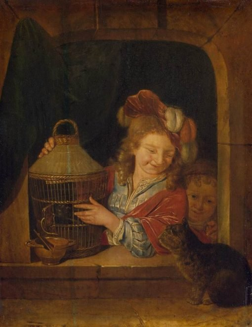 Children with a Cage and a Cat | Eglon Hendrick van der Neer | Oil Painting
