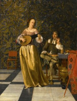A Lady Playing a Lute with a Gentleman Seated at a Table in an Interior | Eglon Hendrick van der Neer | Oil Painting