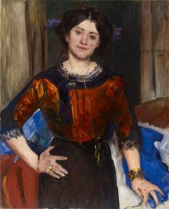 Portrait of Charlotte Corinth in Brown Blouse | Lovis Corinth | Oil Painting
