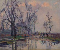 Carriole sur chemin borde deau | Robert Antoine Pinchon | Oil Painting