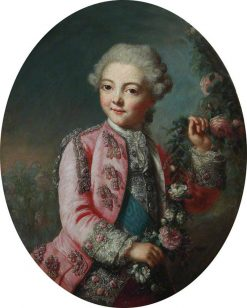Portrait of a Boy Holding a Garland of Flowers | Marianne Loir | Oil Painting
