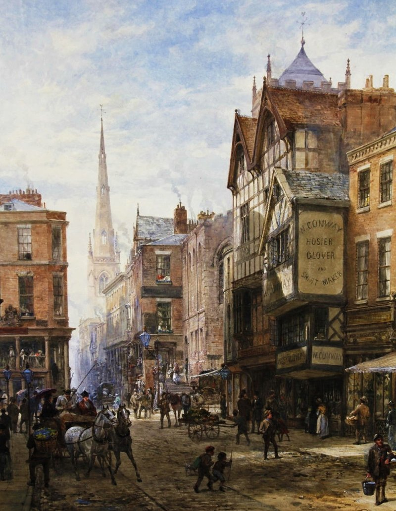 PRINT FROM AN OLD PAINTING  BY LOUISE RAYNER BRIDGE STREET PICTURE CHESTER