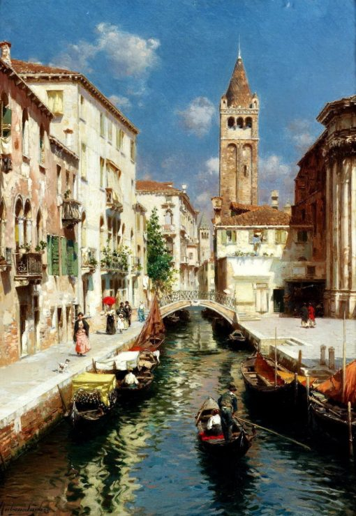 Gondolas on a Venetian Backwater | Rubens Santoro | Oil Painting