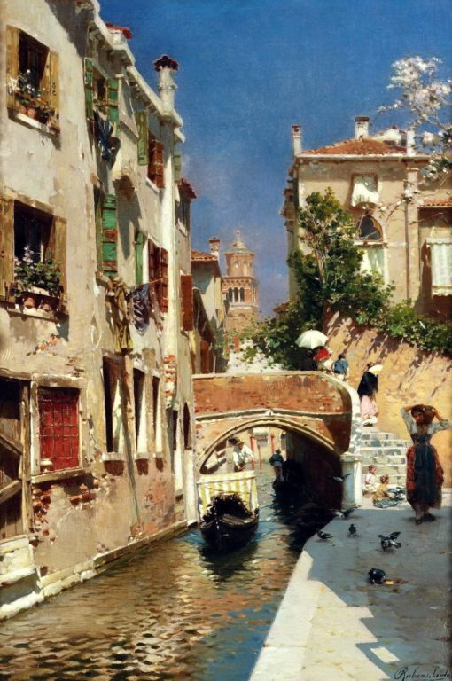 A woman carrying water beside a Venetian canal | Rubens Santoro | Oil Painting