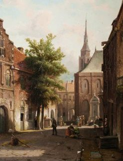 A Dutch street scene | Cornelis Springer | Oil Painting