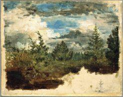A Wooded Hillside. Study | Kilian Christoffer Zoll | Oil Painting