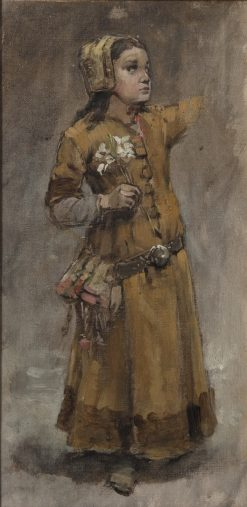 A Girl. Study for Valdemar Atterdag Holding Visby to Ransom | Carl Gustav Hellqvist | Oil Painting