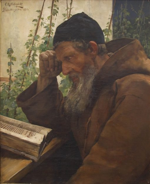 The Monk Studying the Bible | Carl Gustav Hellqvist | Oil Painting
