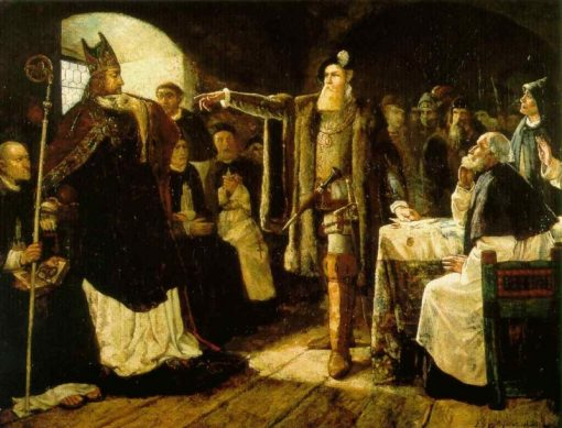 Gustaf Vasa Accusing Bishop Peder Sunnanvader in Vasteras | Carl Gustav Hellqvist | Oil Painting