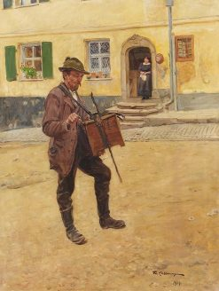 The Hurdy Gurdy Player | Friederich Kallmorgen | Oil Painting
