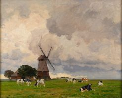 Spring Landscape with Windmill | Friederich Kallmorgen | Oil Painting