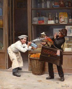 Teasing the Monkey | Paul-Charles Chocarne-Mureau | Oil Painting