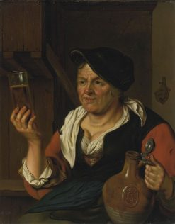 Peasant Woman In An Interior Holding a Glass of Beer and Jug   Carel de Moor   Oil Painting