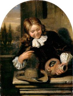 Boy with a Flagon and a Birds Nest | Carel de Moor | Oil Painting