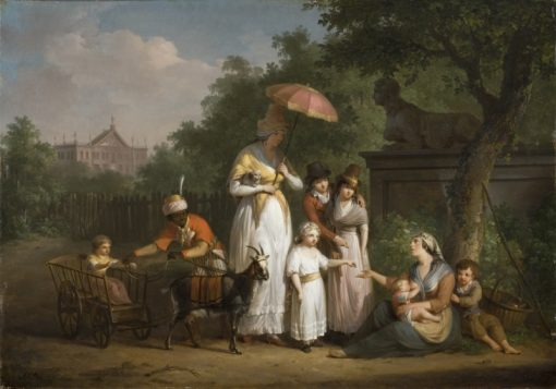 A Noble Family Distributing Alms in a Park | Mattheus Ignatius van Bree | Oil Painting