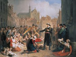Burgomaster van der Werf offers his sword to the people of Leiden | Mattheus Ignatius van Bree | Oil Painting