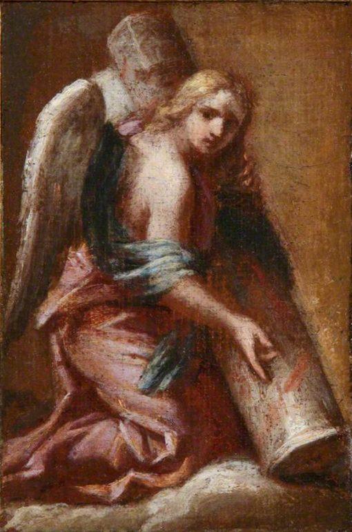 An Angel Holding the Column | Francesco Trevisani | Oil Painting