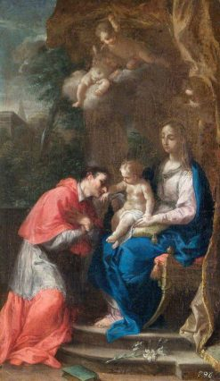 The Virgin and Child with Saint Carlo Borromeo | Francesco Trevisani | Oil Painting