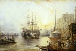 View of Greenwich in 1877 Showing the Training Ship HMS Warspite | Claude T. Stanfield Moore | Oil Painting
