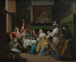 A domestic scene in an interior with figures eating and drinking around a table | Jan Josef Horemans the Elder | Oil Painting