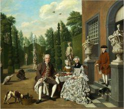 Noble family dining before a park | Jan Josef Horemans the Elder | Oil Painting