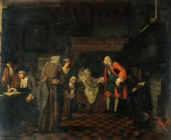 Interior with a Medical Practitioner Attending to a Sick Man in the Presence of Other Figures | Jan Josef Horemans the Elder | Oil Painting