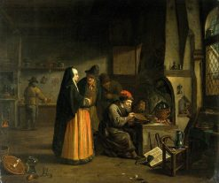 A Lady Visiting an Alchemist in His Laboratory | Jan Josef Horemans the Elder | Oil Painting
