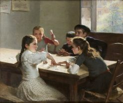 Interior with Children Playing Cards | Hugo Salmson | Oil Painting