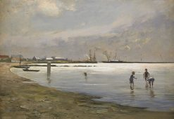 Boys playing in the water | Hugo Salmson | Oil Painting