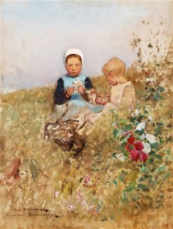 Children in the Meadow | Hugo Salmson | Oil Painting