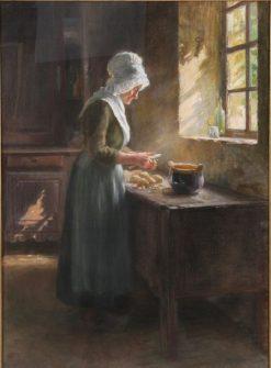 Peeling Potatoes | Hugo Salmson | Oil Painting
