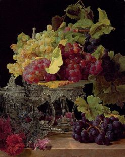 Red and white grapes and silver tableware on a marble ledge | Ferdinand Georg Waldmuller | Oil Painting