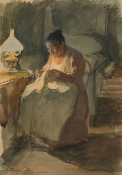 Nanny Sewing | Leonid Osipovich Pasternak | Oil Painting