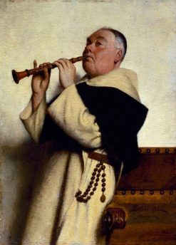 Monk Playing Clarinet | Thure Nikolaus Cederstrom | Oil Painting