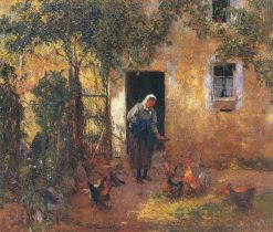 Feeding the Chickens | Evariste Carpentier | Oil Painting