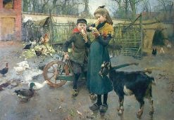 The Snack in the Farmyard | Evariste Carpentier | Oil Painting