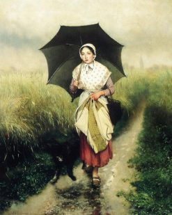 Young Girl with an Umbrella | Evariste Carpentier | Oil Painting