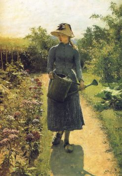Young girl with watering can | Evariste Carpentier | Oil Painting