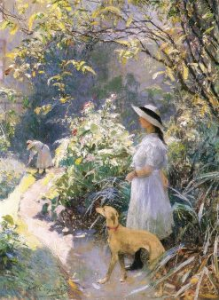 Girl with a greyhound in the garden | Evariste Carpentier | Oil Painting