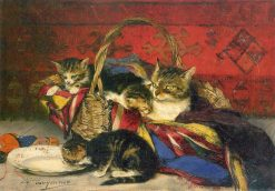 A Basket of Kittens | Evariste Carpentier | Oil Painting