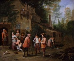 Scene in a Court of an Inn | Pieter Angellis | Oil Painting