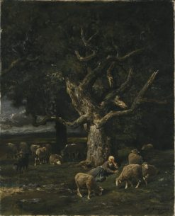 A Shepherdess and her Sheep | Charles-Emile Jacque | Oil Painting